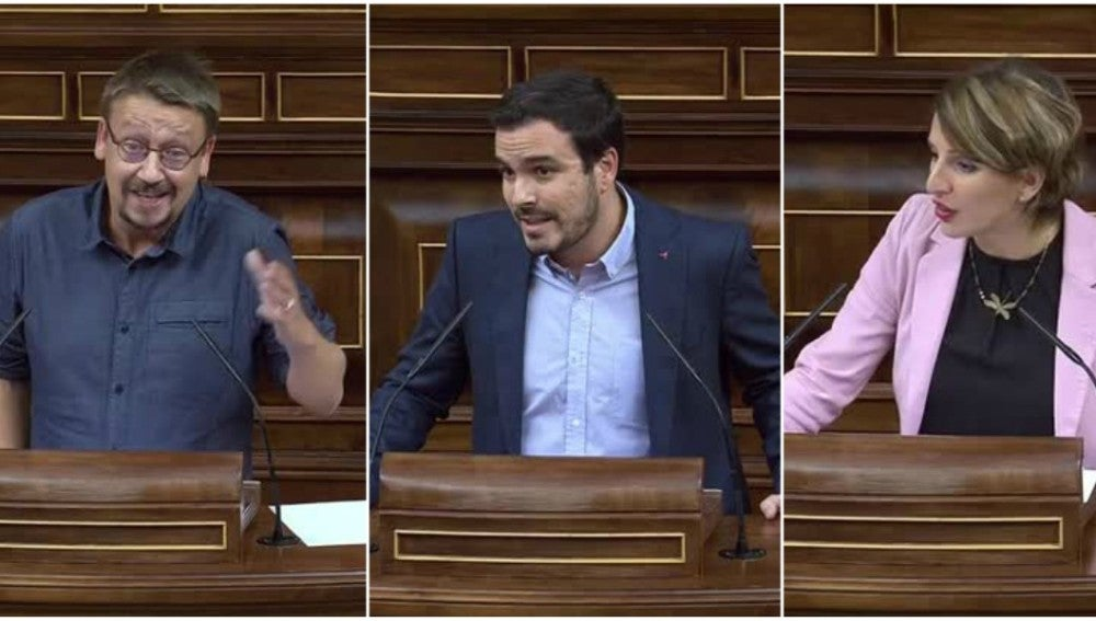 Xavier Domènech, Alberto Garzón y Yolanda Díaz, portavoces de las confluencias de Unidos Podemos