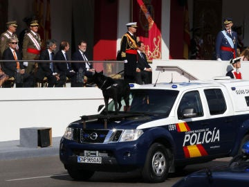 Perro de la Policía desfilando en el 12-O