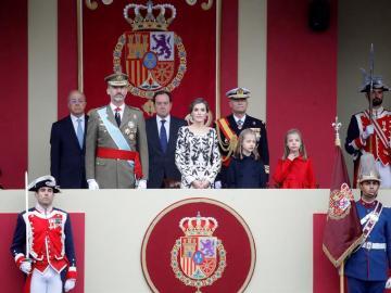 Los Reyes durante el desfile del Día de la Fiesta Nacional del año pasado