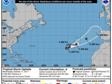 Gráfico cedido que muestra la trayectoria de tres días de la tormenta tropical Ophelia
