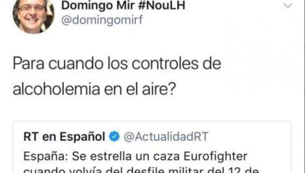 El polémico tuit de Domingo Mir tras la muerte de Borja Aybar