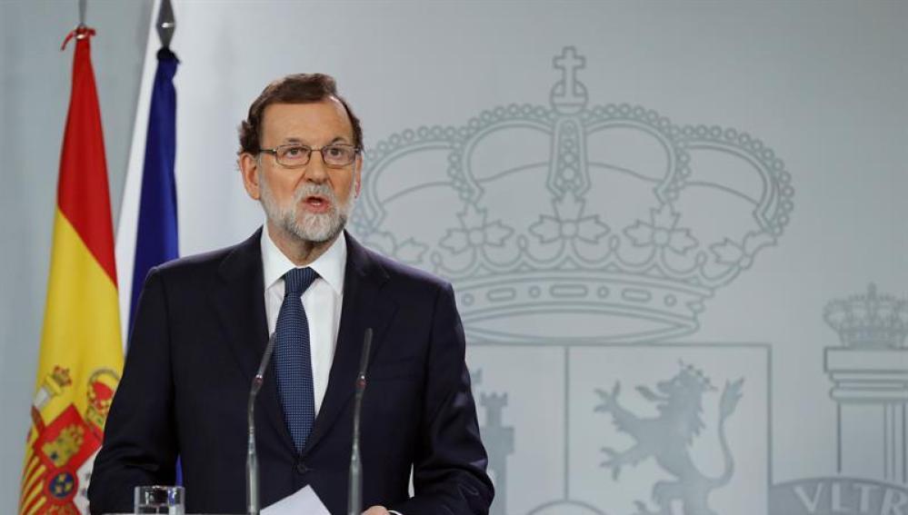 El presidente del Gobierno, Mariano Rajoy, durante su comparecencia ante los medios