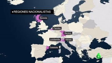 Son varias las regiones europeas con reivindicaciones nacionalistas