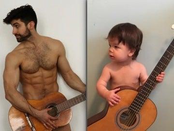 Augie emula a su tío tocando la guitarra