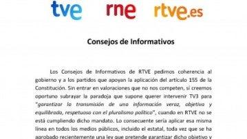 Comunicado de los Consejos Informativos de RTVE
