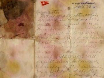 Carta escrita por un pasajero del Titanic
