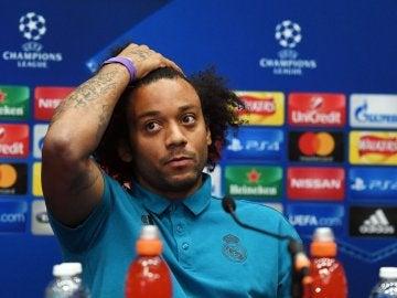 Marcelo, en rueda de prensa con el Real Madrid