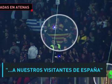 Recibimiento en Atenas a los aficionados del Barça