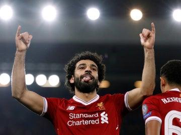 Salah celebra su gol contra el Maribor en Anfield