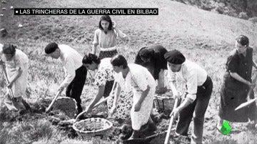 Cerca de 10.000 hombres mujeres y niños levantaron, alrededor de Bilbao, una línea de trincheras