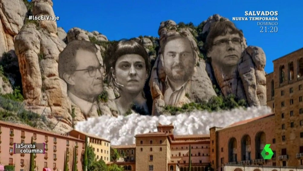 Puigdemont, Junqueras, Artur Mas y Anna Gabriel: los padres fundadores de la república catalana, el Monte Rushmore catalán