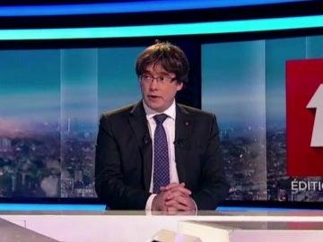 Puigdemont durante una entrevista en la televisión belga