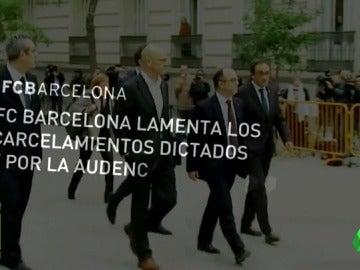 """El Barcelona """"lamenta"""" los encarcelamientos de los miembros del Govern y llama """"a la serenidad"""""""