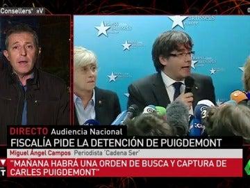 """Miguel Ángel Campos: """"Mañana habrá una orden de busca y captura de Carles Puigdemont"""""""