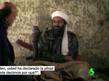 Imagen de Bin Laden en la que le preguntan si ha declarado la yihad a EEUU