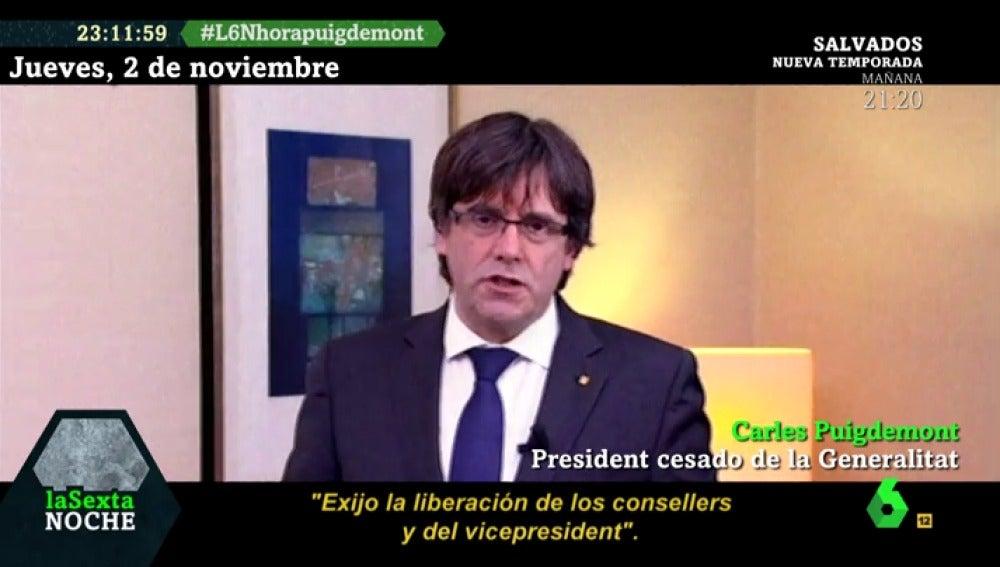 Carles Puigdemont pidiendo la liberación de Junqueras y los exconsellers encarcelados