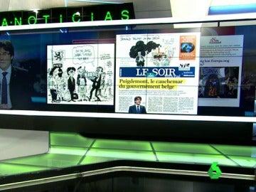 Portada de Le Soir tras la entrevista de Carles Puigdmeont en una televisión belga