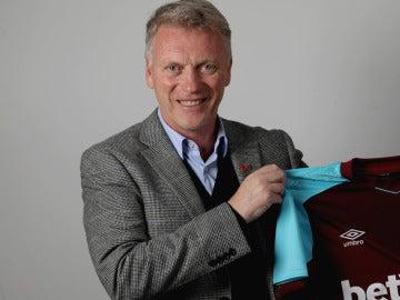 Moyes, con la camiseta del West Ham