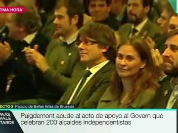 Puigdemont, en el acto de alcaldes independentistas en Bruselas