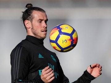 Gareth Bale, durante el entrenamiento del Real Madrid