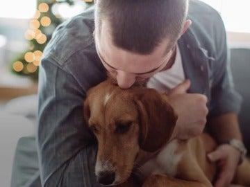 Hombre besando a un perro