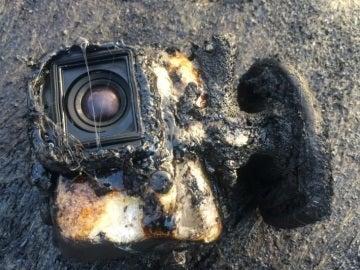 Estado en el que termino la GoPro tras su recorrido por la lava