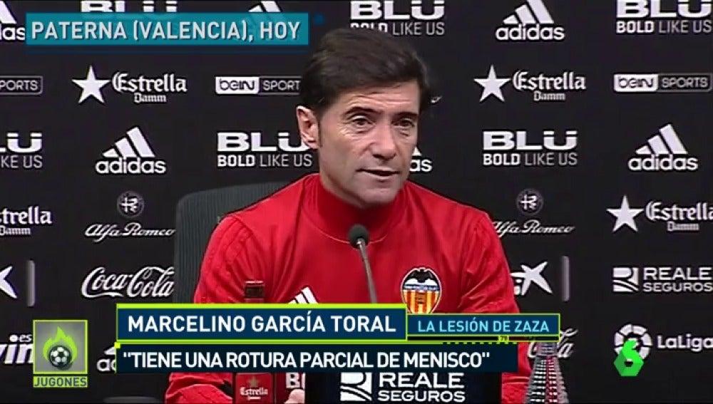 """Marcelino: """"Zaza tiene una rotura parcial del menisco externo de la rodilla, en cualquier momento tiene que pasar por quirófano"""""""