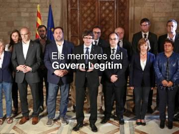 """Fotografía de los """"miembros del Govern legítimo"""" sin Santi Vila"""
