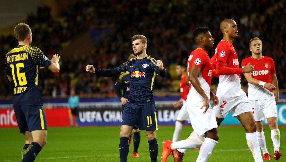Timo Werner celebra su gol ante el Mónaco