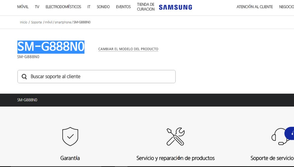 Samsung Galaxy X en la web de Samsung con el nombre del modelo