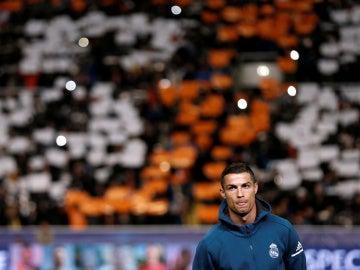 Cristiano Ronaldo, antes del partido contra el APOEL en Nicosia
