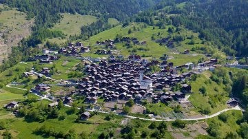 Albinen, un pueblo de los Alpes.