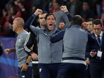 Berizzo celebra el gol del empate
