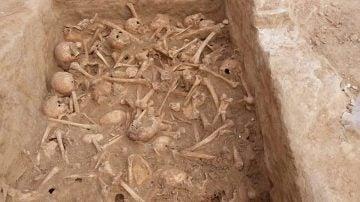 Craneos y huesos humanos encontrados durante unas obras en Madrid.