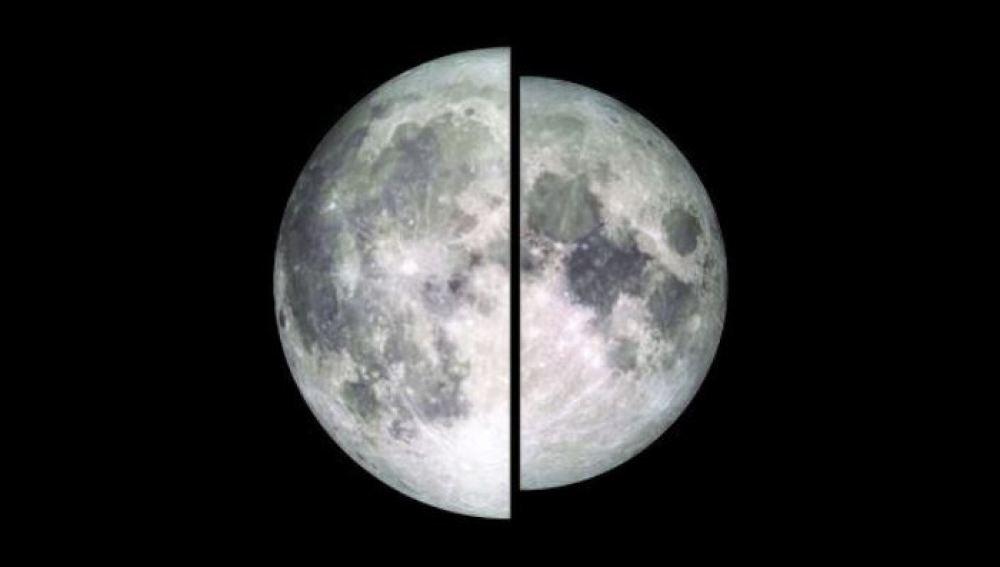 Imagen de dos lunas tomada por el LRO (Lunar Reconnaissance Orbiter). Una de ellas está en su punto más cercano a la Tierra (perigee) y otra en el más alejado (apogeo)