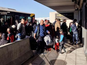 Refugiados sirios a su llegada a España