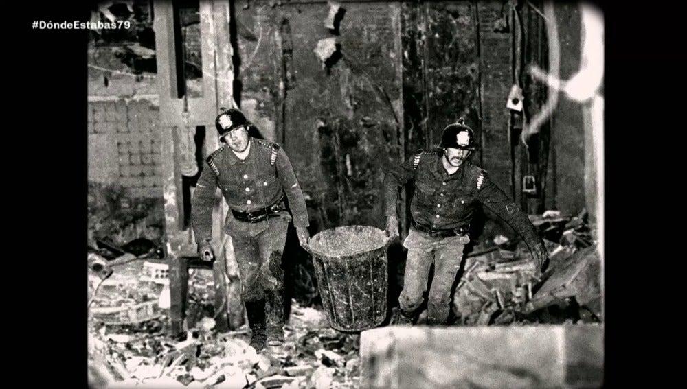 Escombros de un atentado en 1979