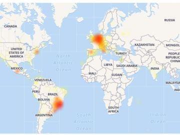 Mapa de Downdetector con la incidencia de Whatsapp