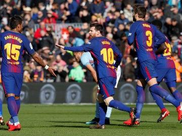 Messi celebra el 1-1 ante el Celta de Vigo