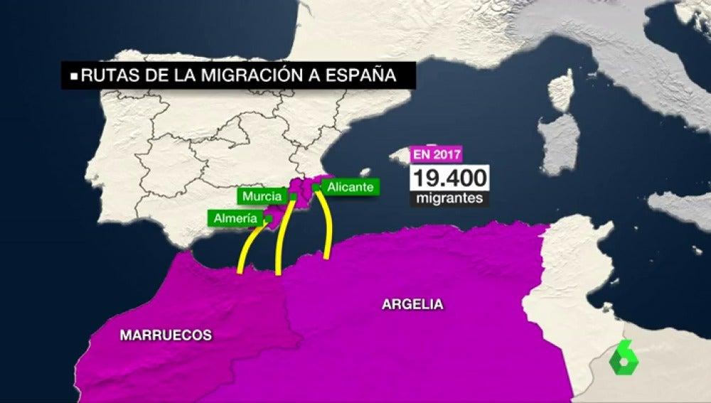 Un gráfico con las rutas y las llegadas de migrantes en 2017