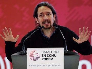 El secretario general de Podemos, Pablo Iglesias, durante la presentación del programa electoral de Cataluña En Comú Podem