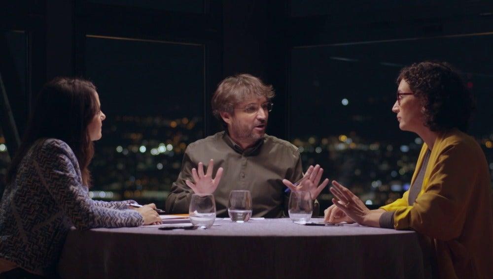 Marta Rovira e Inés Arrimadas con Jordi Évole