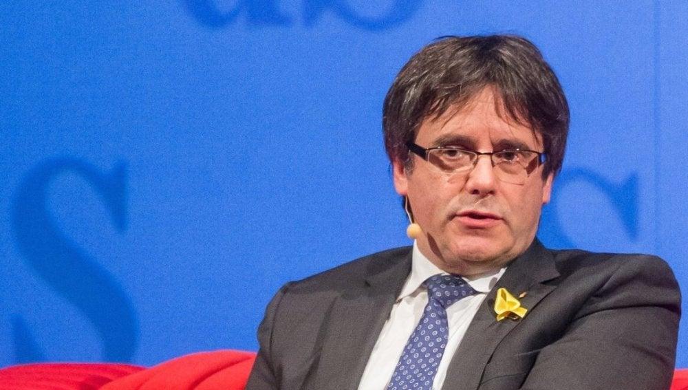 Carles Puigdemont durante una entrevista desde Bruselas