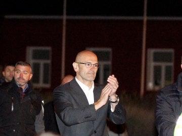 El exconseller de la Generalitat Raül Romeva, a su salida de la prisión de Estremera