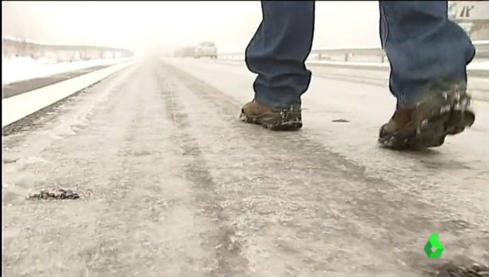 Una carretera helada.