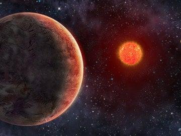 Ilustración del exoplaneta potencialmente GJ 273b alrededor de la estrella de Luyten