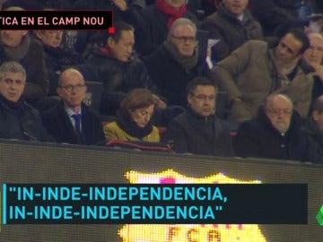 El Camp Nou, de nuevo escenario político en Champions: Forcadell se sentó al lado de Bartomeu en el palco
