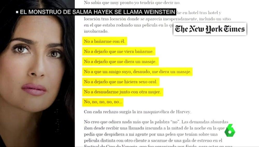 La carta de Salma Hayek denunciando los abusos de Weinstein