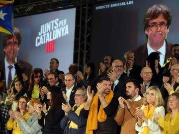 Puigdemont, por videoconferencia desde Bruselas en un acto electoral