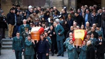 Un momento del funeral que se ha celebrado en la iglesia de Santa María de Alcañiz
